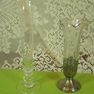 Pair of clear etched bud vases